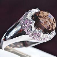 14k white gold sz 6.5 ring 9.02ct fancy smoky quartz pink sapphire diamond 6.2gr