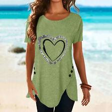 Womens Print Tunic Long Tops Summer Short Sleeve Blouse Ladies Plus Size T Shirt