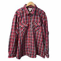 Carhartt 4XL Heavyweight Flannel Work Red Plaid Shirt Button Down