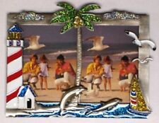 2 - 3 x 4 Light House Palm Tree & Dolphins Picture - Photo Frame # 565.