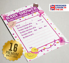 Baby Shower Prediction & Advice Game 16 A6 Party Cards - Girls PURPLE DOT Design