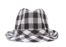 Plaid Trilby Fedora Hat - White
