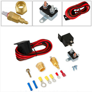 New Electric Cooling FAN Wiring Install Kit 185/170 Thermostat 60 AMP Relay