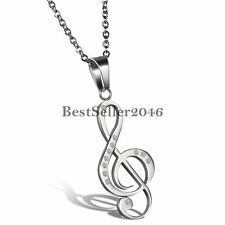 Women's Stainless Steel Treble G Clef Music Note Charm Pendant Necklace w Chain