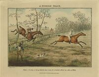 "1827- Henry T Alken, A Steeple Chase, antique, Horses,  20""x16"" Art Print"