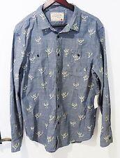 Men L long sleeve novelty shirt antler print cotton