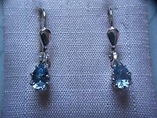 Aquamarin Tropfen Ohrhänger Sterlingsilber, Ohrhänger Silber 925 mit Aquamarin