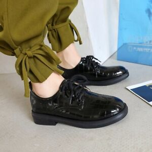 Women Round Toe Casual College Brogue Low Heels Flat Lace Up Oxfords Retro Shoes