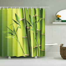 New Shower Curtain Decor set Green Bamboo with Leaves Design Curtains + 12 Hooks