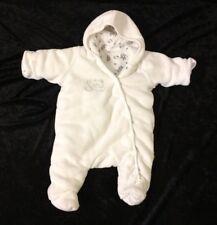 Unisex Baby Snowsuit White Fleece Age 3-6 Months