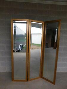 Quality Gilt Frame Beveled Glass Tri-Fold Room Divider Screen