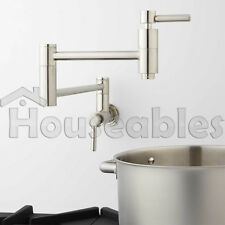 "21"" Modern Retractable Double Joint Wall Mount Pot Filler Brushed Nickel"