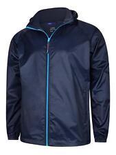 Mens Premium Navy Waterproof Rain Coat Jacket Lightweight with stowable bag