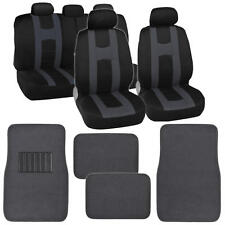 Complete Front & Rear Set of Black Charcoal Car Seat Covers and Beige Floor Mats