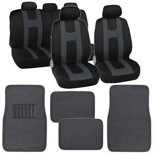 Complete Black / Charcoal Front & Rear Set Car Seat Covers and Beige Floor Mats