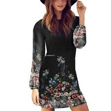 Women Retro Floral Long Sleeve Mini Shift Dress O-neck Back ZIPPER Chiffon Black M