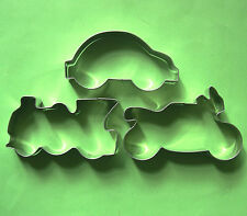 Vehicle Car Train Motorcycle Metal Cookie Cutter Set Fondant Biscuit Mold 3pcs