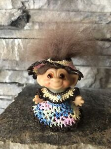 """Vintage Dam Troll Doll! 2 3/4"""" New Brown Fur Hair Amber Glass Eyes! New Outfit!"""