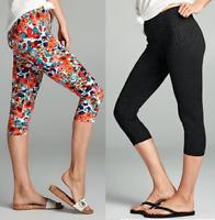 Size 8 Capri Leggings Set Of Two Black & Floral Cropped Ladies Womens NEW #806