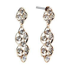 Stunning Yellow Gold Filled Long Drop Dangle Created Diamonds Earrings US1GM162