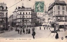 SELTEN alte Foto AK 1916 AMIENS@Place Gambetta@Straßenbahn / tramway+ passants