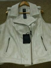 NEW Women's Harley Davidson Leather Vest Distressed Off-White 2X
