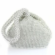New Crystal Silver Diamante Evening bag Clutch Purse Party Wedding Prom Pouch