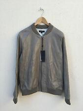 NEW Villain Mens Crinkle Leather Jacket (Sand) Size XL