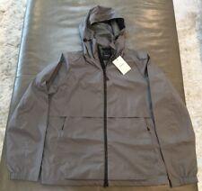 NWT Theory Draftbreak Gray Hooded Waterproof Technical Rain Jacket Medium $425