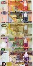 Zambia, SET, 50;100;500;1000; 5000, 2007-2011, New, UNC