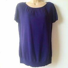 Worthington Womens Size Large Purple Short Sleeve Sweater Blouse Shoulder Pad B1