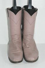 JUSTIN L3065 WOMENS 7.5 B MAUVE LEATHER ROUND TOE ROPERS WESTERN COWBOY BOOTS