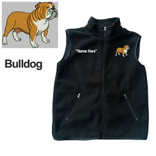 Bulldog Dog Fleece Vest with Zippers Personal Name Stitched Monogrammed