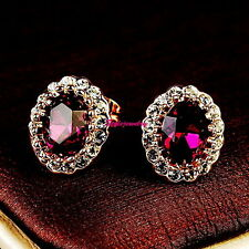 Rose Gold Filled Amethyst Purple Stud Earring Made With Swarovski Crystal IE46