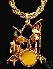 LOOK 1839 Drum set drummer pendant charm sticks Gold Plated