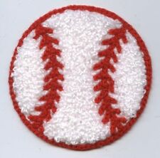 Iron On Embroidered Applique Patch Chenille Large Red White Baseball Sports