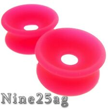 Soft Silicone Plugs Tunnels Pink 3/4 Inch 20Mm Concave