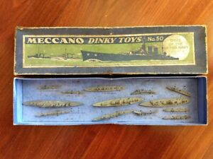 """Prized 1934 Meccano Dinky Toys Box Set #50, """"Ships of the British Navy"""""""