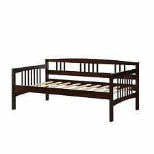 Espresso Twin Day Bed Solid Wood Frame Slat Support Seating Sofa Den Sleeper New
