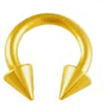 "Horseshoe Heavy 4 Gauge 1/2"" w/Spikes 8mm Gold Plate Body Jewelry"