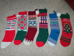 Vintage Christmas Knit Stocking Lot Of 6, Acrylic, Variety Colors Knitted