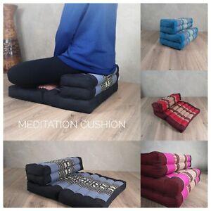 3 Fold Zafu Meditation Cushion Floor Seating Mat Natrual Kapok Filled Matt