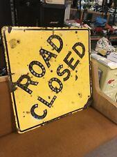 VTG Vintage PORCELAIN CA CALIFORNIA HIGHWAY ROAD SIGN w REFLECTORS  ROAD CLOSED