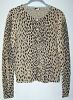 J. Crew Wildcat Cardigan Sweater Women's M Button Front Merino Wool Animal Print