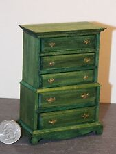 Dollhouse Miniature Chest of Drawers Green F 1:12 inch scale K39 Dollys Gallery