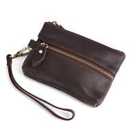 Genuine Leather Car Key Case Holder Keychain Men & Women Keys Wallet Sleeve Bag