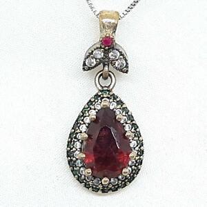 Deco 4.00ctw Ruby, Emerald & Diamond Cut Sapphire 14K Yellow Gold Silver Pendant