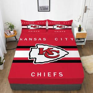 Kansas City Chiefs Football Fitted Sheet Pillowcases Bedding 3PCS Deep Pocket