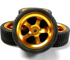 122061 1/10 Scale Rc Car On Road Rueda y banda de rodadura de neumáticos Naranja De Aleación 5 Radios X 4