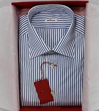 NWT $850 Kiton Napoli Dress Shirt White Blue Striped 100% Cotton Spread Collar